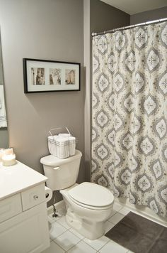 Paint color is Laura Ashley's Mountain Pass matched to Behr (Home Depot) interior paint in a flat finish. http://canoodle.wordpress.com/2012/01/13/guest-bathroom-before-and-after/