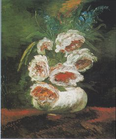 """Vincent Van Gogh - Vase mit Pfingstrosen. (Vase of Peonies), 1886, Soon after Van Gogh arrived in Paris he began painting still lifes with the goal of experimenting with contrasting colours. He wrote to a friend in England that his goal was to create """"intense colouration, not gray harmony."""