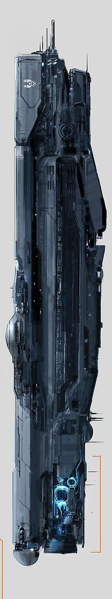 This is a digitally rendered (in the style of watercolour) concept drawing of the UNSC Infinity from Halo The thing that I like about this piece is how the designer was able to use opacity and pressure to give a worn metal and metallic effect to the ship Spaceship Design, Spaceship Concept, Concept Ships, Concept Art, Spaceship Art, Sci Fi Spaceships, Sci Fi Ships, Science Fiction Art, Futuristic Architecture