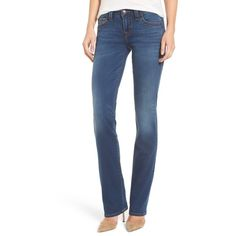 Women's True Religion Brand Jeans Billie Straight Leg Jeans ($134) ❤ liked on Polyvore featuring jeans, tried n true blue, stretch jeans, blue denim jeans, true religion jeans, true religion and stretch denim jeans