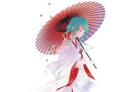 Vocaloid Paraguas Kimono Anime Chicas