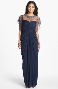 Adrianna Papell Embellished Illusion Yoke Mesh Gown available at #Nordstrom......I love this dress for new years party!