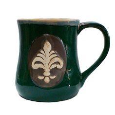 Scroll Fleur-de-Lis Stoneware Mug - Green