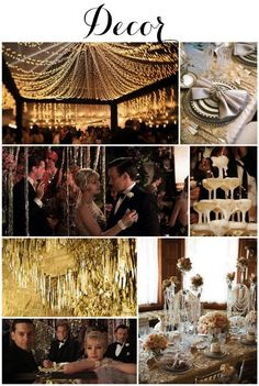 Linen, Lace, & Love: Great Gatsby Themed Wedding #thegreatgatsby #1920s #artdeco #Gatsby #wedding #decor gatsby party decoration, gatsbi theme, party themes, white lights, string lights, themed weddings, gatsby decoration, linen, themed parties