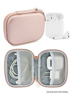 Travel Protection and Storage Case for Airpods Case, Featured Design, mesh Pouches for airpods case, Wall Charger and Cable, (Rose Gold) Apple Watch Accessories, Iphone Accessories, Travel Accessories, Cute Phone Cases, Iphone Cases, Accessoires Iphone, Airpod Case, Coque Iphone, Bag Organization