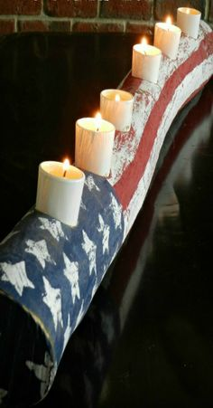 DIY American Flag Log Candle - it's a natural!