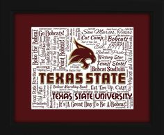 Texas State University 16x20 Art Piece by AODesignsOnline on Etsy