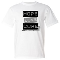 Parkinsons Disease Hope Love Cure American Made T-Shirt - White | Cancer Shirts | Disease Apparel | Awareness Ribbon Colors