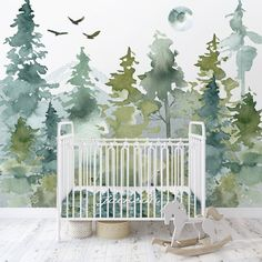 Woodland Wallpaper / Peel and Stick Removable / Baby Boy Nursery Decor / Country/ Watercolor / Woodland Collection Baby Boy Nursery Decor, Baby Boy Rooms, Woodland Nursery, Baby Boy Nurseries, Baby Girls, Nursery Room, Kindergarten Wallpaper, Glossy Paint, Nursery Wallpaper