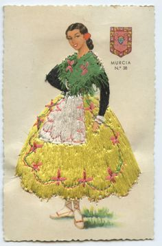 Embroidered Silk Ethnic Spain Dress Country Fashion Original 1960s Postcard