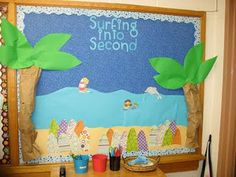 Welcome Back To School Bulletin Boards Ideas - Bing Images Surfing Bulletin Boards, Ocean Bulletin Board, Summer Bulletin Boards, Back To School Bulletin Boards, Bulletin Board Display, Classroom Bulletin Boards, Classroom Signs, Future Classroom, Classroom Displays