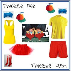 Tweedle Dee and Tweedle Dum Hers and His Running Costumes by mrsdav14 on Polyvore