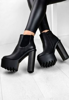 SUGAR Chunky Grip High Heel Platform Zip Ankle Boots Because each of our mommies constantly Platform Ankle Boots, Platform High Heels, High Heel Boots, Heeled Boots, Shoe Boots, Shoes Heels, Ankle Heel Boots, Chunky High Heels, Cute Shoes
