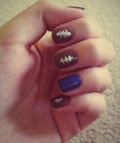 Chic of the Week: Brittany's Football Mani.   Super cute and not too hard. Great for the big game. :)