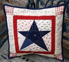 Patriotic star pillow tutorial - not a quilt, but a quilted pillow