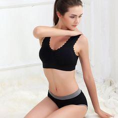829066c10c490 Promo Offer Comfort Sports Bras Lace Trim Size Women Padded Wireless Yoga  Gym Bra Clothing Women s
