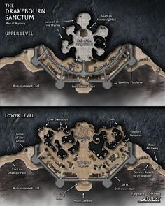 The Drakebourn Sanctum was a cliffside citadel in the Forsaken Rift, so named because riding dragons and drakes to the citadel was the primary (and safest) means to reach it. Fantasy City, Fantasy Castle, Fantasy Map, Dungeons And Dragons, Pathfinder Maps, Pen & Paper, Rpg Map, Map Layout, Dnd 5e Homebrew