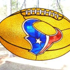 Huston Texans Sports Stained Glass Hanging custom made by The Last Unicorn Stained Glass Studio
