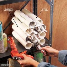 Caulk Tube Nest - Before I made this caulk nest for myshop, the tubes rolled all overthe shelves like slippery logs.To build one, cut 10-in.-longpieces of 2-in. PVC pipe andglue them side to side withPVC cement. To get straightglue lines, use the print alongthe side of the pipe as a guide.As you glue, hold the piecestogether for 60 seconds withhand pressure or a clampuntil the glue sets. Be sure toapply the glue only in a well-ventilatedarea. Glue on onetube at a time to fit theavailable…