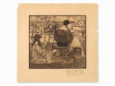 Heinrich Vogeler, Liebe, Aquatinta Radierung, 1896   Auctionata