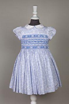Robe à smocks bébé Cerise bleu pervenche 100% coton - l'île aux fées - fait main