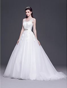 A-line/Princess V-neck Sweep/Brush Train Tulle Wedding Dress Easebuy! Free Measurement!