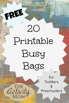 Here are 20 free printable busy bags full of fun kid& activities! Perfect for traveling and quiet time. Here are 20 free printable busy bags full of fun kids activities! Perfect for traveling and quiet time. Toddler Busy Bags, Toddler Fun, Toddler Preschool, Preschool Activities, Toddler Games, Indoor Activities, Toddler Activity Bags, Kids Printable Activities, Matching Games For Toddlers