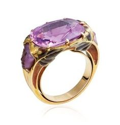 An Art Nouveau coloured sapphire, enamel and glass ring, by Rene Lalique. Art Nouveau Ring, Art Nouveau Jewelry, Gold Rings, Gemstone Rings, Gems Jewelry, Jewellery, Purple Glass, Pink Sapphire, Glass Ring