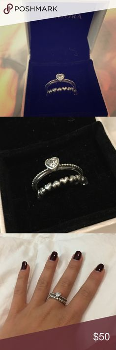 Pandora rings, two separate rings, stackable Pandora stackable rings, hearts Pandora Accessories