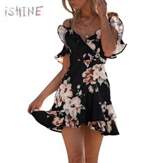 26b1899a73 Butterfly sleeve ruffle v neck summer dress women cross deep v neck mini  dress spaghetti strap floral boho dress female vestidos