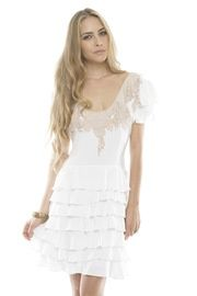 Love the skirt and lace detail on the lapels gorg dress, style, white lace, ruffl dress, reception dresses, recept dress, ruffles, lace ruffl