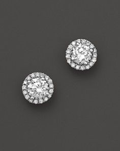 Micro-Pave Diamond Stud Earri ngs in 14K White Gold, .50 ct. t.w. #BloomingdalesProm