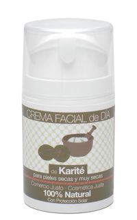 Crema facial de día de Karité. 50 ml. Producto certificado 100% natural Diseñada para el cuidado de las pieles secas y muy secas. Rica en manteca de karité, emoliente, deja la piel suave y nutrida. Con factor de protección solar.