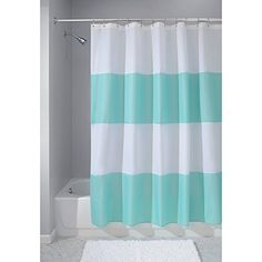 InterDesign Waterproof Mold and MildewResistant Zeno Shower Curtain XWide 108Inch by 72Inch BlueWhite -- Click image to review more details.