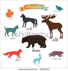 animals. outlines of animals with fur by gala.gleb, via ShutterStock