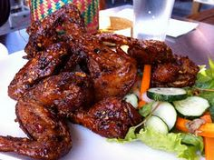 spicy chicken wings - just saw this on Diners Drive Ins and Dives.  Yummy.