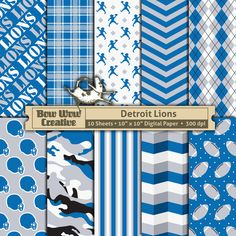 10 Detroit Lions Pattern Digital Papers for by BowWowCreative