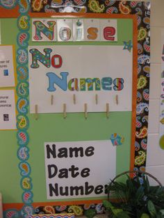 Classroom ideas to organize your classroom. No Name idea using CTP's Dots on Turquoise.