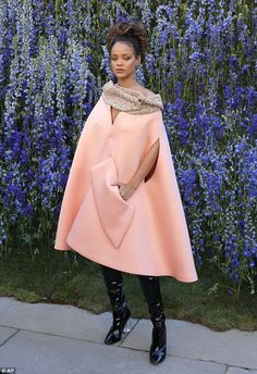 Edgy: Rihanna showed exactly why she is renowned for her style as she arrived at the Christian Dior Spring/Summer 2016 catwalk show at Paris Fashion Week