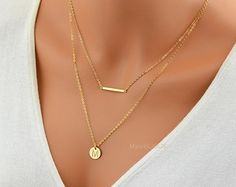 Layered Necklace Gold, Initial Disc, Skinny Bar Necklace, Horizontal Bar, Delicate Jewelry, Simply Gold Necklace, Layering Necklace Set