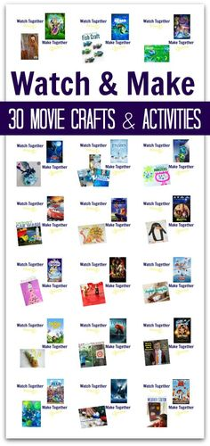 Huge list of family movie night movies and crafts or activities to do after watching the film! Frugal Summer Activities, Summer Kids Activities #summer