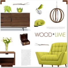 Wood + Lime by polly301 on Polyvore featuring interior, interiors, interior design, home, home decor, interior decorating, LexMod, Bobby Berk Home, Gus* Modern and Feiss