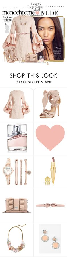 """""""Feeling Ruffled"""" by jadelovespintrest ❤ liked on Polyvore featuring Anaïs, Marques'Almeida, Alexandre Birman, HUGO, Anne Klein, Christian Louboutin, Nicole By Nicole Miller, Industrie, RED Valentino and BaubleBar"""