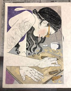 YUKI :: Woodblock printing « makishimizu.com Yoko, Woodblock Print, Printing, Portrait, Artwork, Work Of Art, Men Portrait, Paintings, Portraits