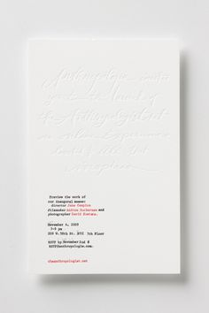 The Anthropologist launch invitation: blind embossed card by bird & banner