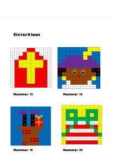 Honderdtabellen Sinterklaas C2c Crochet, Tapestry Crochet, Diy For Kids, Crafts For Kids, Arts And Crafts, Melting Beads, Saint Nicholas, Pixel Art, Coloring Pages