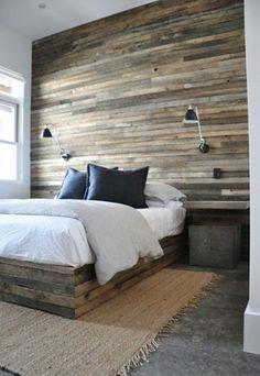 Hout en beton in de slaapkamer