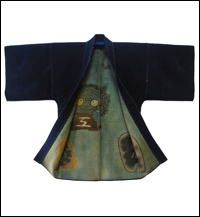 HikeshiBanten SashikoSakiori Hanten    (Firemans Jacket) Late 1800s s decorated with  tsutsugaki symbolic images : Jacket is reversible. While fighting fires the plain side would be exposed. After the fire had been extinguished, the fireman would reverse his jacket and the decorative images would be displayed