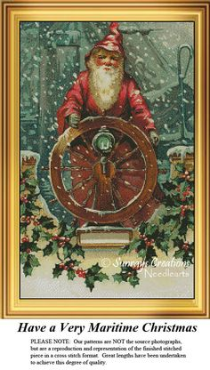 Santa Claus Cross Stitch Pattern   Have a Very Maritime Christmas. Cross Stitch Pattern of Santa steering a ship, Nostalgic  Counted Cross Stitch Pattern. Kit and Digital Download also Available, cross stitch 123, vintage cross stitch