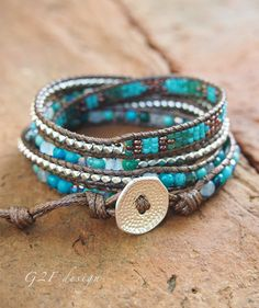 Turquoise mix Wrap bracelet on brown cord Seed beaded by Leather Jewelry, Leather Cord, Beaded Jewelry, Seed Bead Earrings, Seed Beads, Wrap Bracelets, Beaded Bracelets, Thing 1, Summer Jewelry